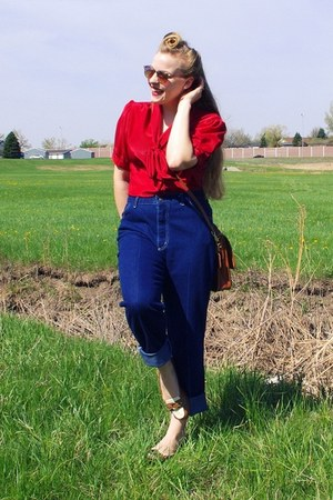 red vintage blouse - navy vintage jeans