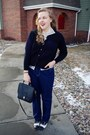 Black-coach-purse-red-grandfathers-coat-navy-vintage-jeans