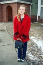Red-grandfathers-coat-navy-vintage-jeans-black-coach-purse