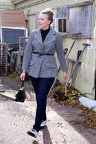 white vintage jacket - black vintage bag