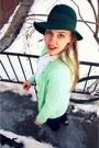 Navy-vintage-jeans-forest-green-vintage-hat-aquamarine-vintage-cardigan