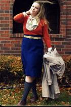 navy vintage skirt - carrot orange thrifted sweater