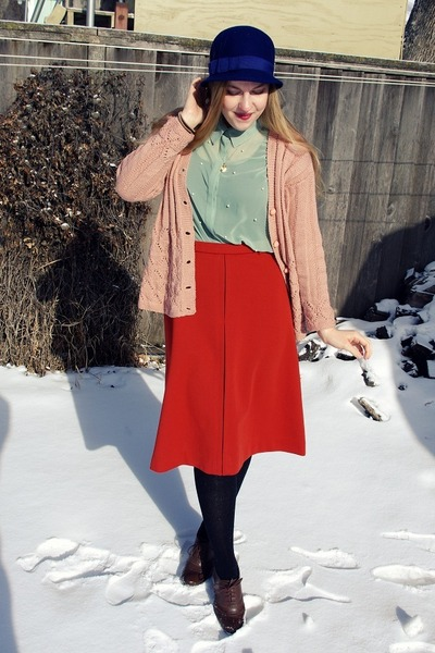 light pink vintage cardigan - navy Old Navy hat - carrot orange vintage skirt