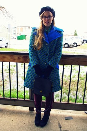 blue vintage coat - black vintage hat - maroon Target pants