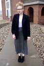 Navy-vintage-blazer-heather-gray-vintage-skirt-white-macys-top