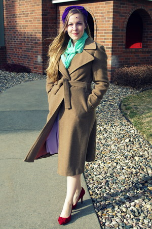 camel vintage coat - ruby red kohls shoes - light purple vintage dress