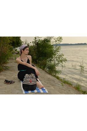 striped Pull and Bear bag - chiffon black Sheinside romper