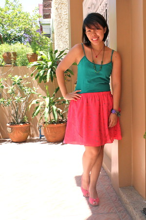 hot pink shiffon skirt I heart ronson skirt - hot pink Forever 21 necklace