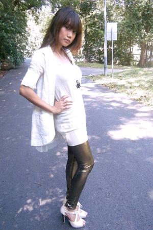 ted baker top - leggings - Letisha blazer - shoes