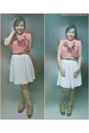 Topshop skirt - Dept Store necklace - Topshop blouse - from japan wedges