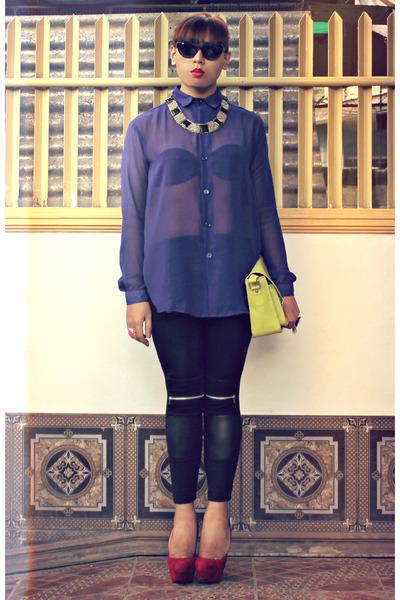 Emall leggings - Parisian bag - Forever 21 blouse - prp pumps