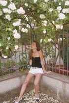 rayban sunglasses - vintage top - mymoms vintage foulard belt - Zara shorts - vi