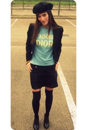 vintage hat - Maeva jacket - christian dior t-shirt - vintage skirt - vintage sh