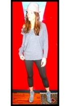 Zara hat - Philosophy by Alberta Ferretti sweater - Zara leggings - vintage boot