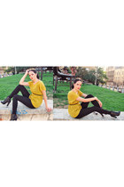 Mango sweater - Kitten boots - Zara leggings