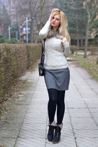 heather gray new look skirt - black Studio In boots - black D&G bag