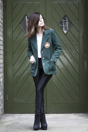 dark green vintage jacket - black American Apparel pants
