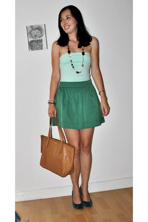 dark green Zara skirt - tawny Fossil bag - light blue H&M top