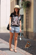 black Mango bag - sky blue Tally Weijl shorts - black Tally Weijl t-shirt