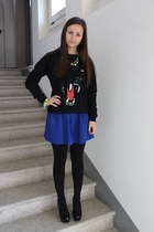 black Pull and Bear hoodie - blue H&M skirt - lime green Zara bracelet