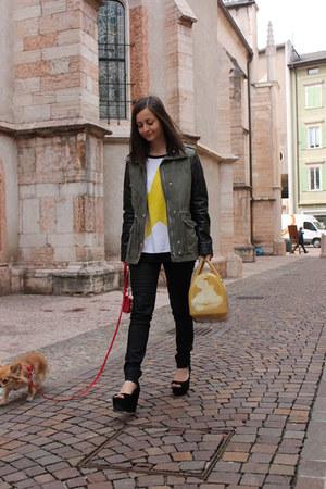 yellow Furla bag - dark khaki H&M coat - black H&M pants - black Zara wedges