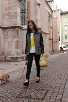 yellow Furla bag - dark khaki H&M coat - black H&M pants - black Zara wedges
