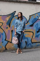 blue Zara shirt - navy Mango jeans - peach Miu Miu bag - neutral Zara heels