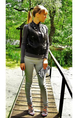 black Zara vest - gray blouse - silver pants - black shoes - gray belt - white p