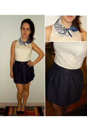 H&amp;M skirt - Atmosphere dress - DIY embelished collar necklace