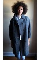 gray coat - sky blue jeans - off white dress shirt