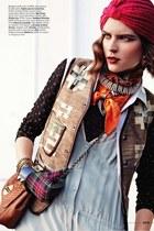 ruby red scarf - black top - brown vest - light blue jumper - accessories