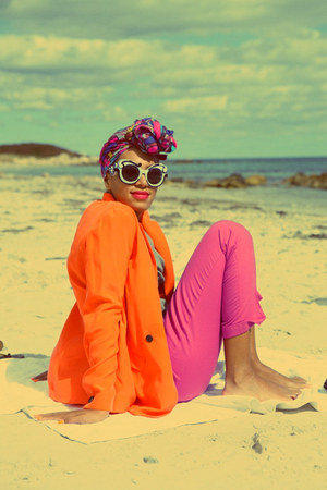 orange blazer - magenta head scarf - bubble gum pants