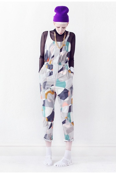 heather gray jumpsuit COS suit - black mesh Mind the Mustard top