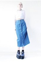 blue denim Mind the Mustard skirt - blue platform Cute to the Core shoes