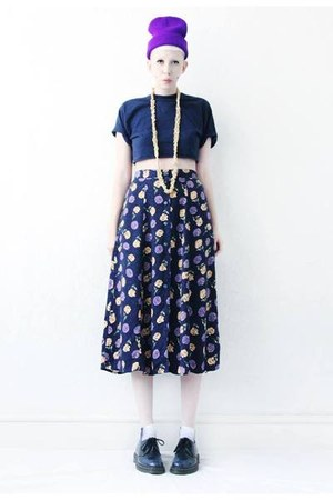 navy floral Mind the Mustard skirt