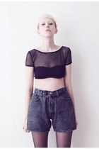black denim Mind the Mustard shorts - black crop top Mind the Mustard top