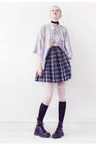 periwinkle pastel Mind the Mustard shirt - navy checkered Mind the Mustard skirt