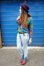 Light-blue-primark-jeans-deep-purple-topshop-hat-blue-vintage-shirt