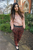carrot orange Primark blouse - carrot orange River Island pants