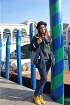 mustard Primark shoes - navy Topshop coat - navy Zara jeans - maroon Topshop hat