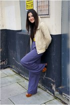 navy Primark pants - beige BLANCO jacket - burnt orange Primark sandals