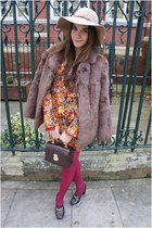 brown vintage coat - burnt orange Miss Sixty dress - beige Topshop hat