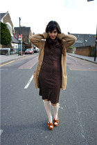 dark brown BLANCO dress - camel Primark cardigan - burnt orange Primark sandals