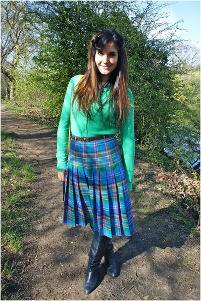 blue vintage skirt - navy Bally boots - chartreuse Primark cardigan