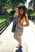 red Topshop skirt - red asoscom sunglasses - gold Fred Perry t-shirt
