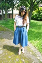 blue Primark skirt - red vintage shirt - brown asos sunglasses