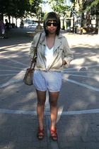 James Perse t-shirt - the gap jacket - American Apparel shorts - dooney & burke