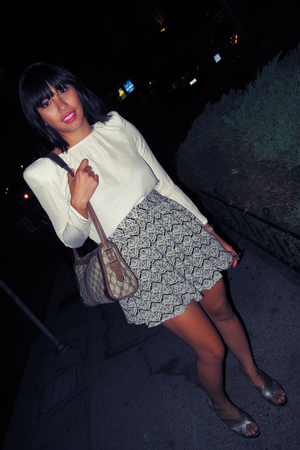 Zara blouse - forever 21 skirt - Jessica Simpson shoes - Gucci purse