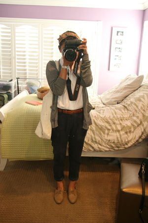 blue Zara pants - beige shoes - gray sweater - white steven alan blouse