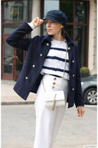 navy Sterkowski hat - navy StyleWe jacket - white Valentino bag